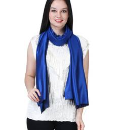 Anekaant Dark Blue Modal Solid Woven Design Reversible Shawl