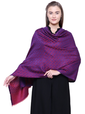 Anekaant Purple Modal and Lurex Stared Woven Design Shawl