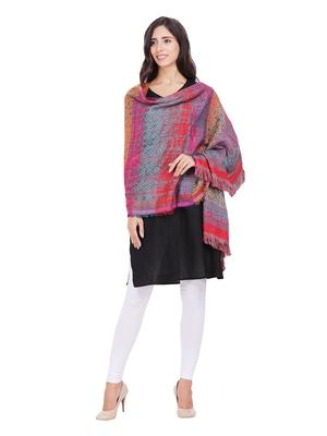 Anekaant Red & Grey Cotton Viscose Geometric Woven Design Shawl