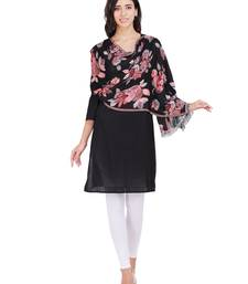 Anekaant Black Cotton Viscose Floral Woven Design Shawl