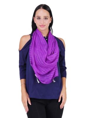 Purple Polyester Solid Lurex Striped Tasselled Scarf
