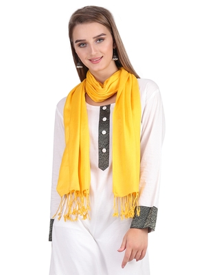 Yellow Viscose Rayon Solid Fringed Stole (55x180 cm)