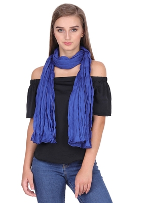 Light Navy/Electric Blue Solid Cotton Crinckled Scarf(110X180CM)