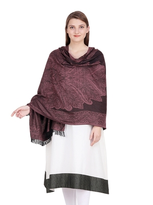 Brown & Black Floral Viscose Jacquard Shawl (70x200 cm)