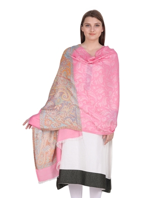 Light Pink & Multicolour Viscose Jacquard  Shawl (70x200 cm)