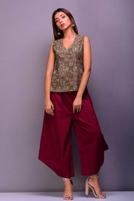 Dark-red printed cotton kurta-sets