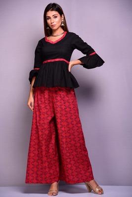 Black plain cotton kurta-sets