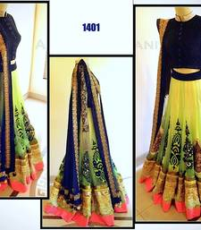 Buy yellow Green net worked bridal padding lahenga with dupatta bridal-lehenga online