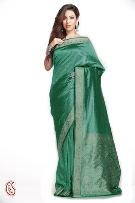 Sea Green Brasso Silk Saree with Zari Pallu and Border