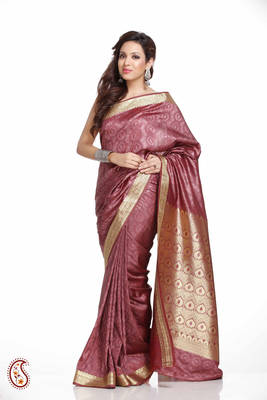 Mauve Pink Brasso Silk Saree with Gold Thread Border