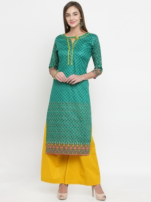 Green & Yellow Cotton Women's Unstitched Palazzo Suit