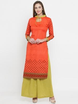 Orange & Lime Green Cotton Women's Unstitched Palazzo Suit