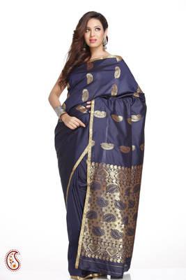 Small Border Navy Blue Art Silk Saree with Zari Keri's