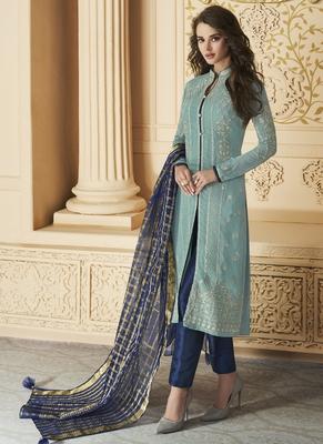 Sky-Blue Embroidered Georgette Salwar