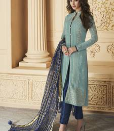 Sky-Blue Embroidered Georgette Salwar