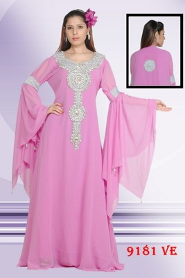 Baby pink embroidered georgette islamic kaftans