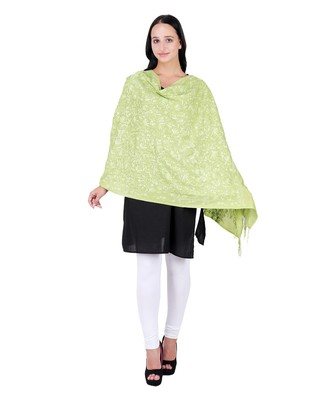 Green Pure Wool Floral Embroidered Shawl
