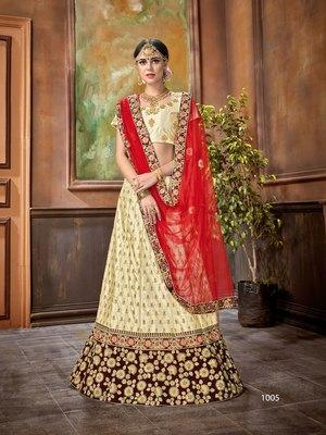Wedding Designer Cream Satin Silk Bridal Lehenga
