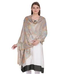 Off White & Multicolour Viscose Jacquard Shawl (70x200 cm)