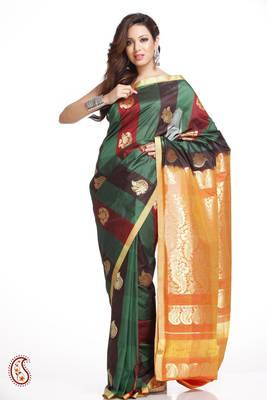 Bold Stripes Art Silk Saree in Black,Red,Green,Orange