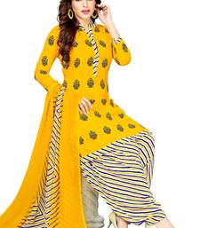 Yellow Printed Synthetic Salwar