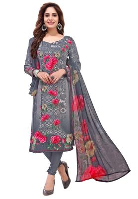 Grey Printed Synthetic Salwar