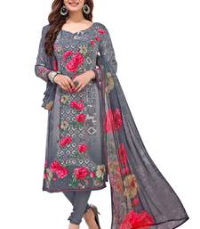 Grey Printed Synthetic Salwar