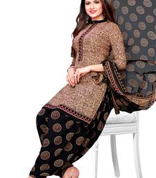 Beige printed synthetic salwar