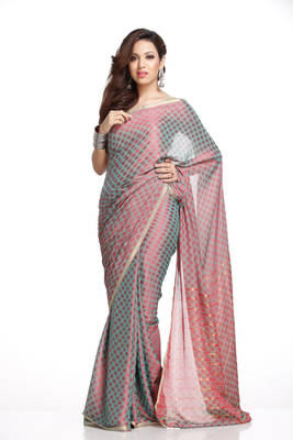 Pink and Metallic Blue Polka Dots Brasso Silk Saree