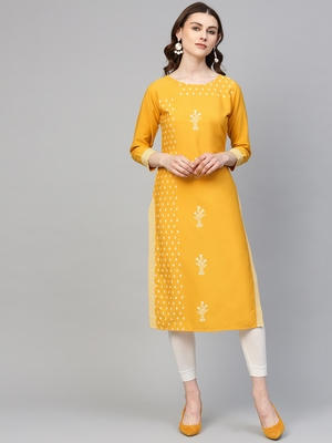 Yellow printed crepe kurtas-and-kurtis
