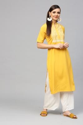 Yellow printed crepe kurtas-and-kurtis