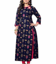 Navy-blue printed cotton kurti
