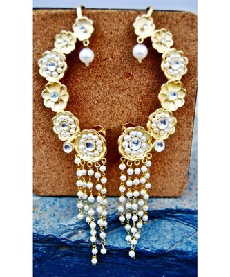 Floral Gold Ear Cuffs with Pearl Strings