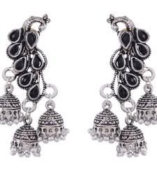 Black Oxidised Peacock Design German Silver Earring