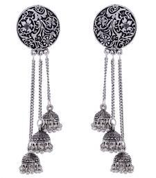 Black Oxidised Jhumki Design German Silver Earring