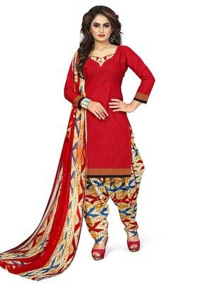 Red plain cotton salwar