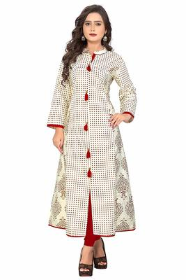 White printed Designer cotton kurti