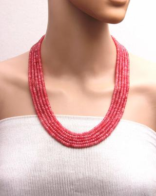 Pink multilayer onyx necklaces