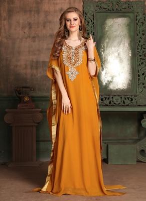 Orange Embroidered Georgette Islamic Kaftans