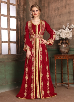Maroon Embroidered Muslim Wedding Dress