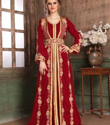 Maroon Embroidered Muslim Wedding Dress