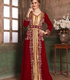 Maroon embroidered velvet islamic kaftans