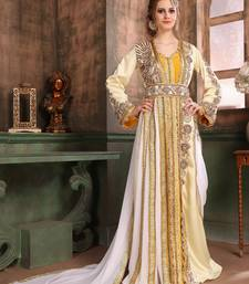 Yellow Embroidered Crepe Islamic Kaftans