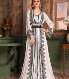 White Embroidered Crepe Islamic Kaftans