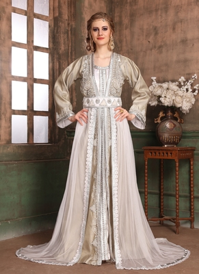 Grey embroidered crepe islamic kaftans
