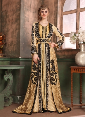 Beige embroidered crepe islamic kaftans