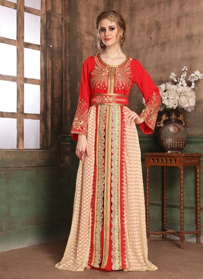 Red embroidered crepe islamic kaftans