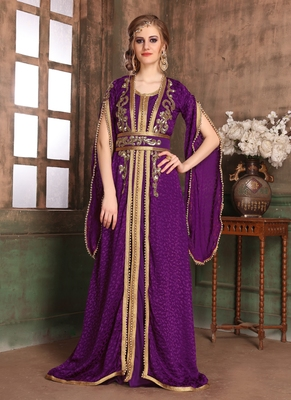 Violet Embroidered Crepe Islamic Kaftans