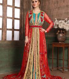 Green And Red Embroidered Crepe Muslim Wedding Dress