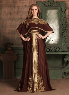 Brown embroidered georgette islamic kaftans
